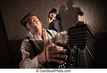 Two Dancers Near Bandoneon Player - Singing bandoneon player...
