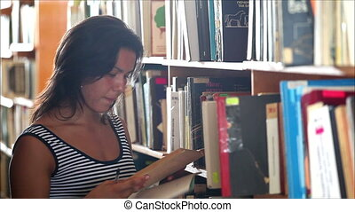 beautiful girl student in the library 4