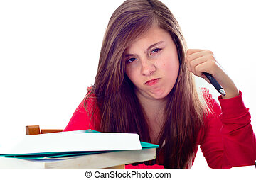 Angry Teenage Studen - Cute teenage girl with school books...