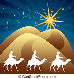 wise men over night background vector illustration