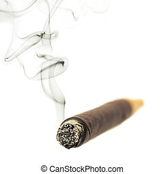 A smoking cigar on white - Cigar with smoke isolated over...