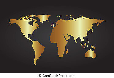gold map over black background. vector illustration