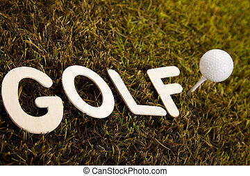 Golf ball on tee - Golfball, Golf