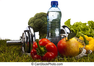 Weight loss, fitness - Fitness Food and green grass
