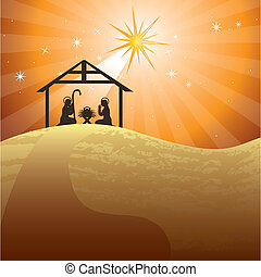 nativity scene over evening background. vector illustration