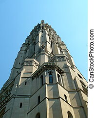 Church Steeple - looking up at a very high church steeple