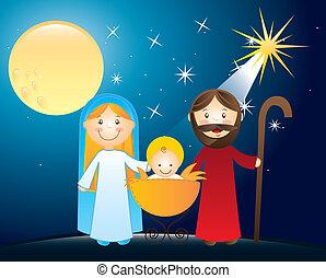 nativity scene with belen star. vector illustration