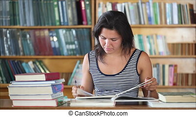 beautiful girl student in the library