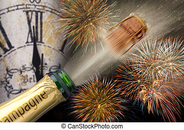 firework at new year - popping champagne with firework at...