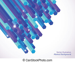 Abstract blue of geometric columns. Vector