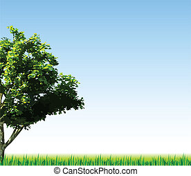 Summer background with grass and tree. Vector