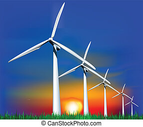 Wind Generators at sunset. Vector illustration