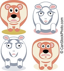 Scared and angry sheeps