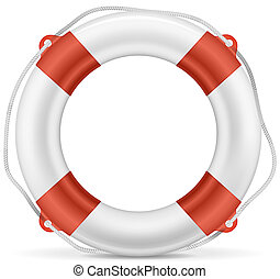 White Lifebuoy - White lifebuoy with red stripes and rope....