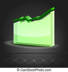 Graph Line Chart icon - Crystal glass diagram. Graph Line...