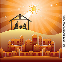 nativity scene over evening background. vector illustration...