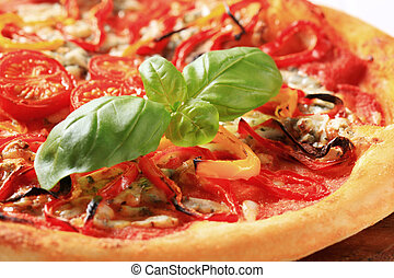 Fresh baked pizza - Homemade pizza with blue cheese and...