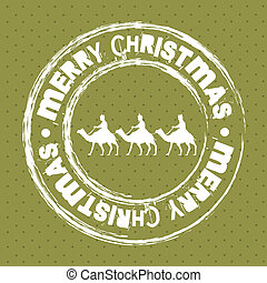 christmas seal with camels over green background. vector