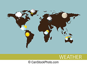 weather with map over blue background. vector illustration