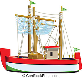 Fishing boat - Little fishing ship model isolated on a white...