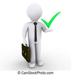Businessman with check mark symbol - 3d businessman with...