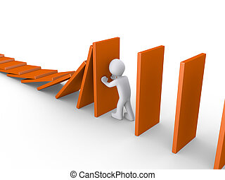 Person stops domino effect - 3d person is stopping domino...
