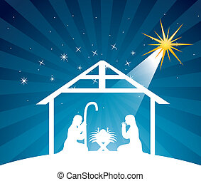 nativity scene over night background vector illustration
