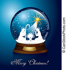 christmas globe with nativity scene over blue background....