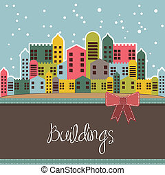 snowing buildings card, vintage style. vector illustration