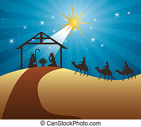 nativity scene with wise men over night background vector