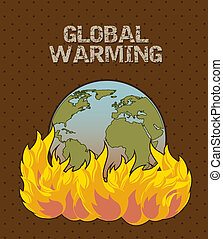 global warming - planet with fire, global warming vector...