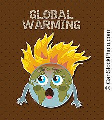 global warming - cute planet with fire, global warming...