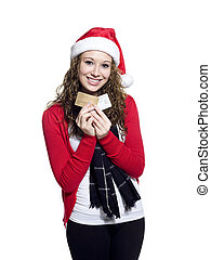 pretty woman holding credit cards