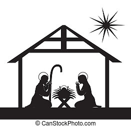 nativity scene - black silhouette nativity scene isolated....