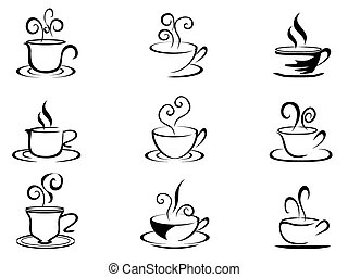 coffee cup shapes - isolated coffee cup shapes from white...