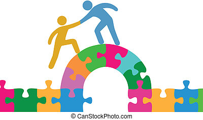 People help join solve bridge puzzle - Person helps people...