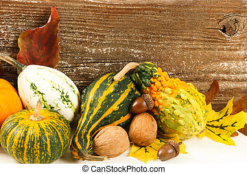 Colorful Fall Harvest Gourds And Nuts - Traditional colorful...
