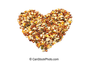 wild bird food containing grains and chickpea in heart shape...