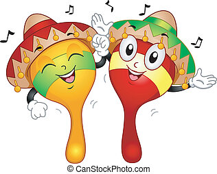 Maracas Mascot - Mascot Illustration of a Pair of Maracas...