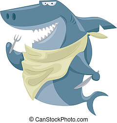Hungry Shark - Illustration Featuring a Shark Wearing a Bib...