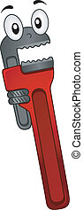 Pipe Wrench Mascot - Mascot Illustration of a Pipe Wrench...