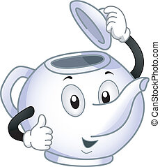 Teapot Mascot - Mascot Illustration of a Porcelain Teapot...