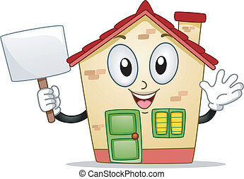 House Mascot - Mascot Illustration of a House Holding a...