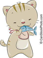 Cat Eating Fish - Illustration of a Cute Cat Wearing a Bib...