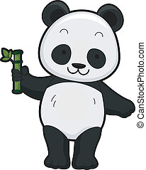 Giant Panda - Illustration Featuring the Front View of a...
