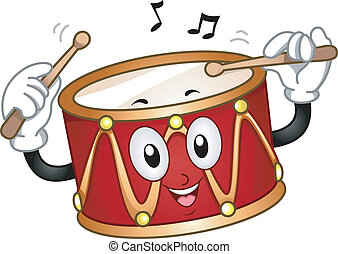 Drum Mascot - Mascot Illustration of a Happy Drum Beating...