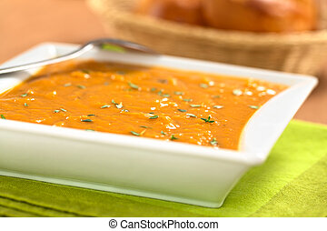 Sweet Potato Soup - Bowl of fresh homemade sweet potato soup...