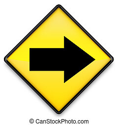 Right Arrow - Right arrow sign on yellow background