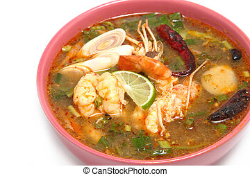 Tom Yum Goong , hot and spicy soup with shrimp ,Thai Cuisine...