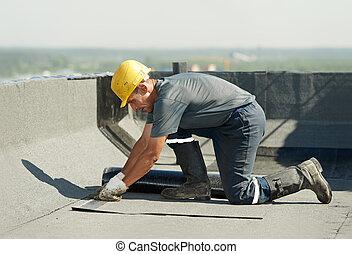 apartamento, telhado, cobertura, trabalhos, telhado, feltro